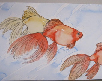 Goldfish #4 - India Ink Watercolor Painting - Original