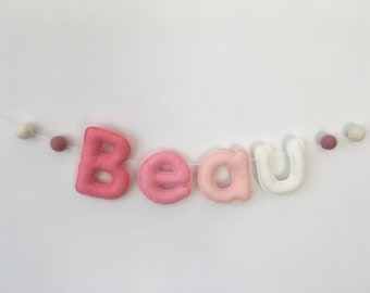 Name garland, bunting, nursery, bedroom, baby shower, christening