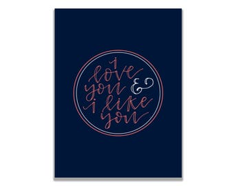 Parks and Recreation I love you and I like you Valentine's Day Greeting Card Ben Wyatt and Leslie Knope Love Card Parks and Rec