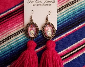 Beautiful frida handmade tussle long earrings