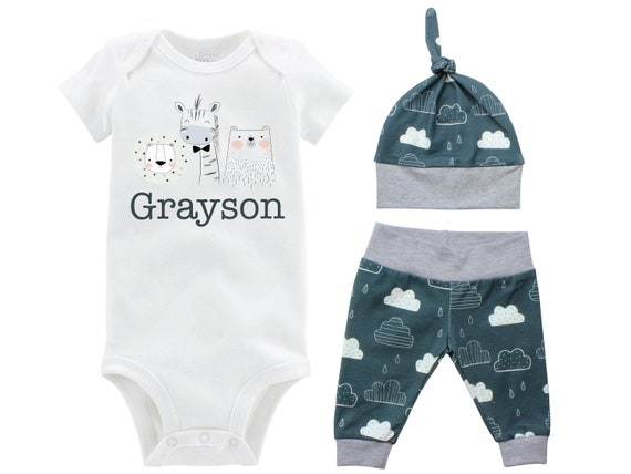 Boy Going Home Set Animals Giraffe Lion Bear Onesie Bodysuit Infant Gift Set Personalized Boy Coming Home Outfit Clouds Baby Shower Gift