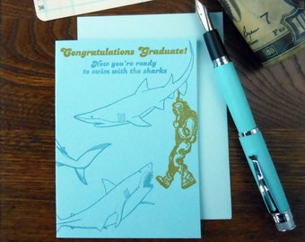 letterpress congratulations graduate! now you're ready to swim with the sharks graduation greeting card