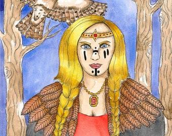 Mythology Art Freyja Art Print Norse Goddess Freya Art Altar Art Sacred Feminine Spiritual Art Pagan Art Goddess Art Print Fantasy Art