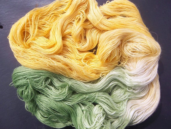 Alpaca Silk Lace 2ply Spring Wild Primroses Elvincraft Hand Dyed Painted Yarn