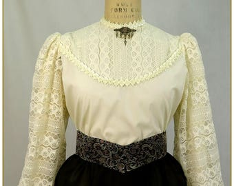 Ivory Stripe Lace Victorian Blouse