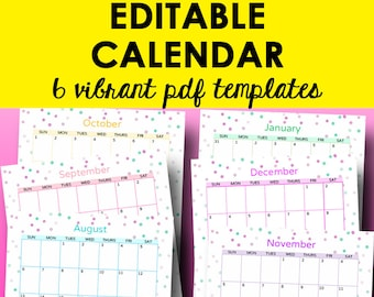 monthly calendar printable template editable monthly calendars printable planner pages calendar template letter size instant download