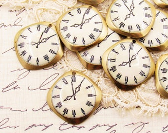 Vintage Brass Clock Charms, Watch Face Pendants 20mm Square Drops - 2