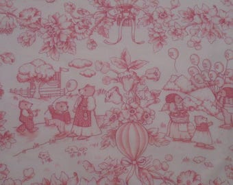 """Waverly """"Playland Toile"""" Cotton Fabric- 47"""" wide, Pink & White with 25"""" pattern repeat-By The Yard"""