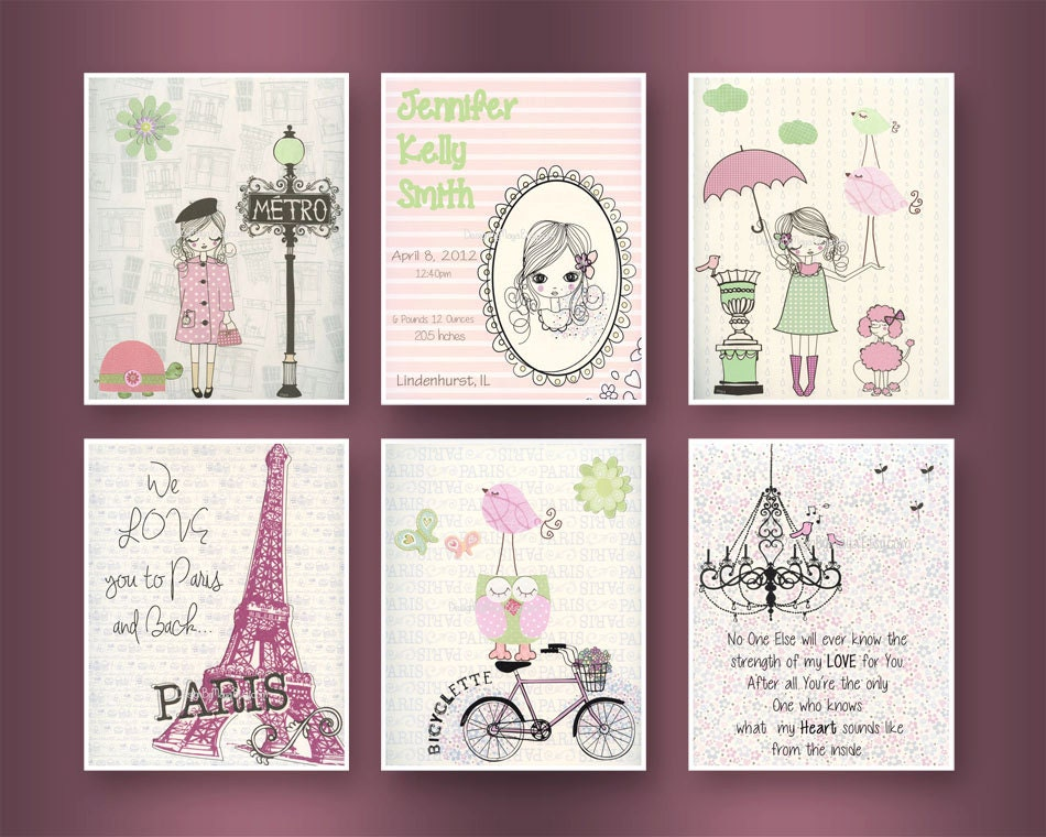 Paris Nursery Art Baby Girl Wall Metro
