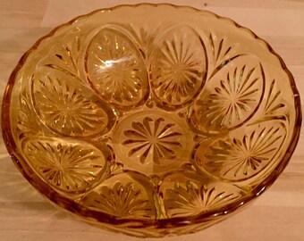Vintage Amber Glass Bowl w/ Starburst Medallion Design
