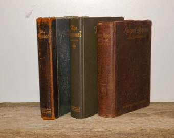 Antique Hymnals,set of 3,leatherbound,early 1900s,hardcover,church hymnal,religous hymnal books,gospel hymns,songbook,music book,gold letter
