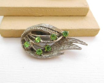 Vintage Textured Matte Silver Green Rhinestone Abstract Flower Brooch Pin PP21