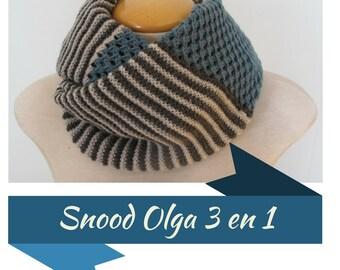 "KNITTING PATTERN pdf version to print - in french - Snood model ""Olga"" 3 in 1"