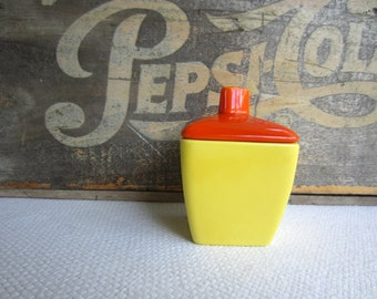 Vintage 1940s Art Deco El Patio Condiment Jam Jelly Jar Yellow Orange Plate Franciscan Ware California Pottery Vibrant