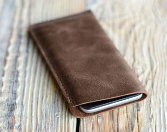 Leather iPhone 8 case, iPhone 7 sleeve, Samsung S7 case, Phone case, Samsung Galaxy S8 case, iPhone 6 pouch, Samsung S6 leather case, Gift