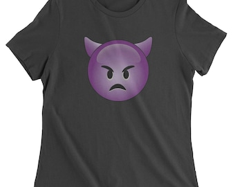 Color Emoticon - Sad Devil Face Smile Womens T-shirt