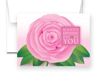 Birthday Card - Greeting Card in three color options: Blue, Pink or Purple
