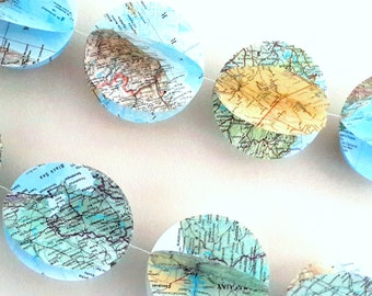 3D World Map Garland - 7Ft Atlas  Bunting- Map Garland / Banner- World  Atlas Banner -Map Decor -Bon Voyage Party- Farewell Party Decoration