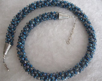 "SALE Sale Shades of Blue and Light Grey  Crystal Crystals Kumihimo Necklace 17 1/2"" Long"
