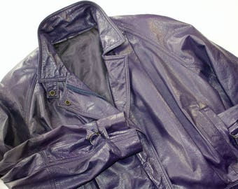 1980s Eggplant-Purple Leather Party Jacket