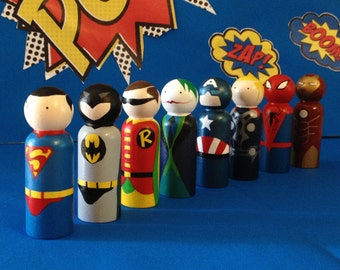 Set Of 6 Peg Doll Superhero 9 cm Toys/Cake Toppers