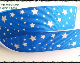 """Blue Grosgrain Ribbon with White Printed Stars 1"""" Wide Scrapbooking HairBows Parties DIY Projects az213"""