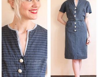 1950s Dress // Stormy Stripe Dress // vintage 50s dress