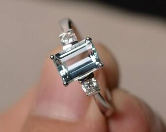 Wedding Ring Natural Aquamarine Ring March Birthstone Ring Emerald Cut Blue Gemstone Ring Sterling Silver Ring