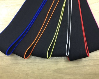 11/2 inch 38mm Wide Colorful Edge Black Plush Comfortable Elastic , Soft Elastic Band, Waistband Elastic,Sewing Elastic