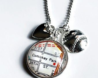 Chicago White Sox Necklace - Baseball Charm Necklace - Comiskey Park - White Sox Jewelry - Baseball Necklace - White Sox Charm Necklace