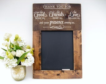 Kitchen Chalkboard Large Rustic Wood Framed Personalized Gift Wall Decor (#1309-S24)