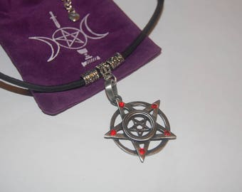 Hand made by my self, leather choker with pewter pentagram with red tiny stone on each point.