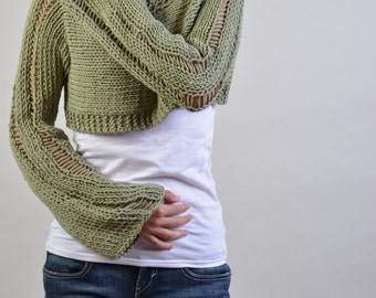 Hand knit woman sweater Little shrug cover up top Celery Green cropped sweater- ready to ship