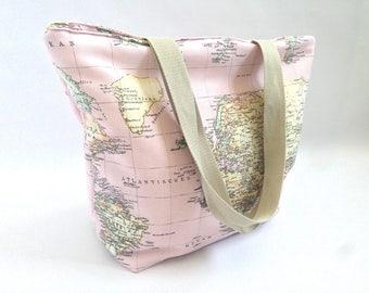regalo mujer, regalo chica, bolso tote, totebag, mapa, tela flamenco, bolso MAPA, tela MAPA, ROSA, bolsa playa, bolsa piscina, gimnasio