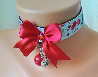 2018 Valentines Trends - Kitten Play Collar - White Red Heats - Falling In Love Cats - Pet Play Collar - Bdsm Collar - DDLG - ABDL - CGLG