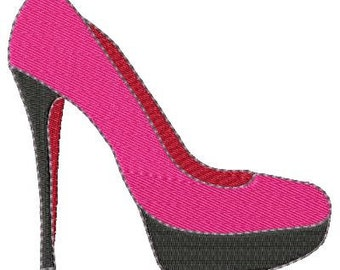 Pink Shoe Machine Embroidery Design Single