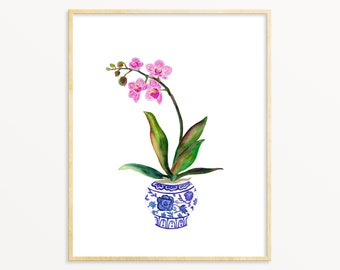 Pink Orchid Watercolor Art Print. Ginger Jar with Orchids Painting. Mother's Day Gift. Traditional Home Decor. Floral Watercolor Art Print..