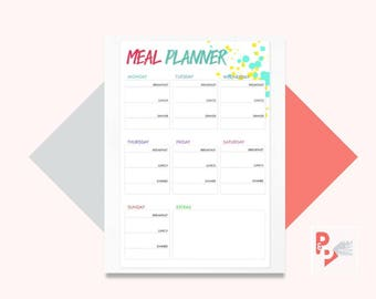 MEAL PLANNER Happy Planner Printable Insert, Create 365, Happy Planner Inserts, Happy Planner Classic, MAMBI Planner, Instant Download