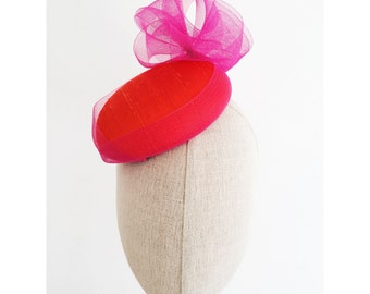 Pink and Orange Silk Cocktail Hat Hand Blocked Mini Hat Pink Crin Flower Millinery