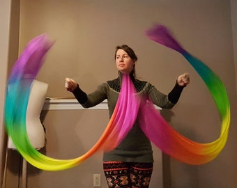 Veil poi UV rainbow silk scarves pair hand dyed