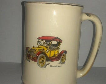 Collectible Vintage Hyalyn Art Pottery Mug Features Old 1913 CHEVROLET