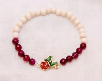 Gemstone bracelet, red agate stone, gemstone jewelry, stone bracelet, wood bead bracelet, boho stacked, stacked bracelet, rose charm, stack