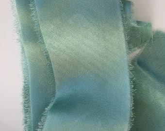 hand-dyed silk charmeuse ribbons in a blue green, stationery, weddings, bouquets, gifts, paper crafts, styling, mignonette, satin, streamers