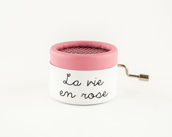 La vie en rose Music Box with handcrank music box movement.