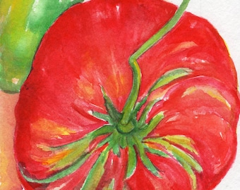 Tomatoes Watercolors Paintings Original, Kitchen Wall Art 5 x 7 original watercolor painting tomatoes, kitchen decor