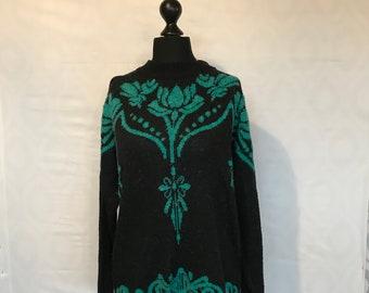 Vintage 1980s jumper green & black Size 16