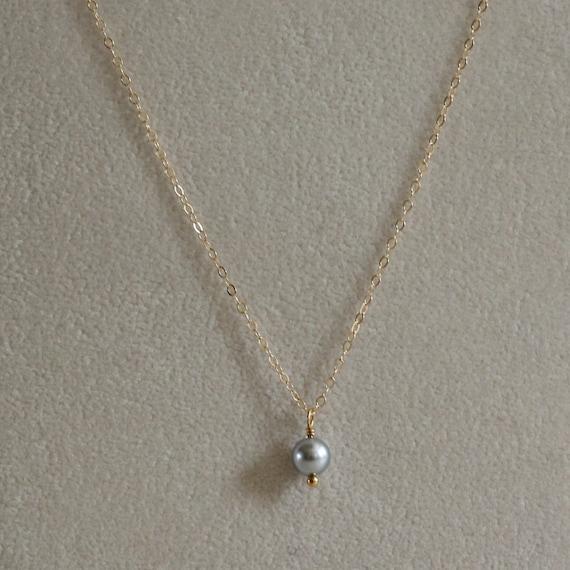 Small gray pearl pendant gray pearl necklace tiny gray aloadofball Choice Image