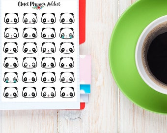 Panda Faces Cute Planner Stickers | Panda Stickers | Emoji Stickers | Emoticon Stickers | Mood Tracker Stickers (S-106)