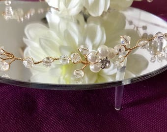 Swarovski Crystal & Pearl  Bridal Hair Vine