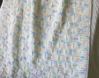 Baby Blanket, *, Baby Crib Blanket, Variegated Colors Baby Afghan, Blue/Green/White/Yellow/Pink Hand Knit Baby Blanket, Basketweave Pattern